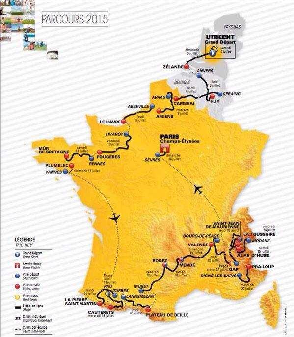 Recorrido del Tour de Francia 2015