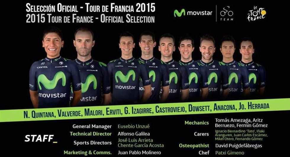 Aquí están los 9 del Movistar Team para el Tour 2015