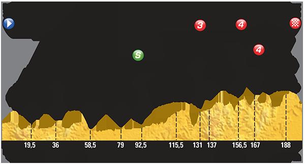 Perfil de la etapa 13 del Tour entre Muret y Rodez