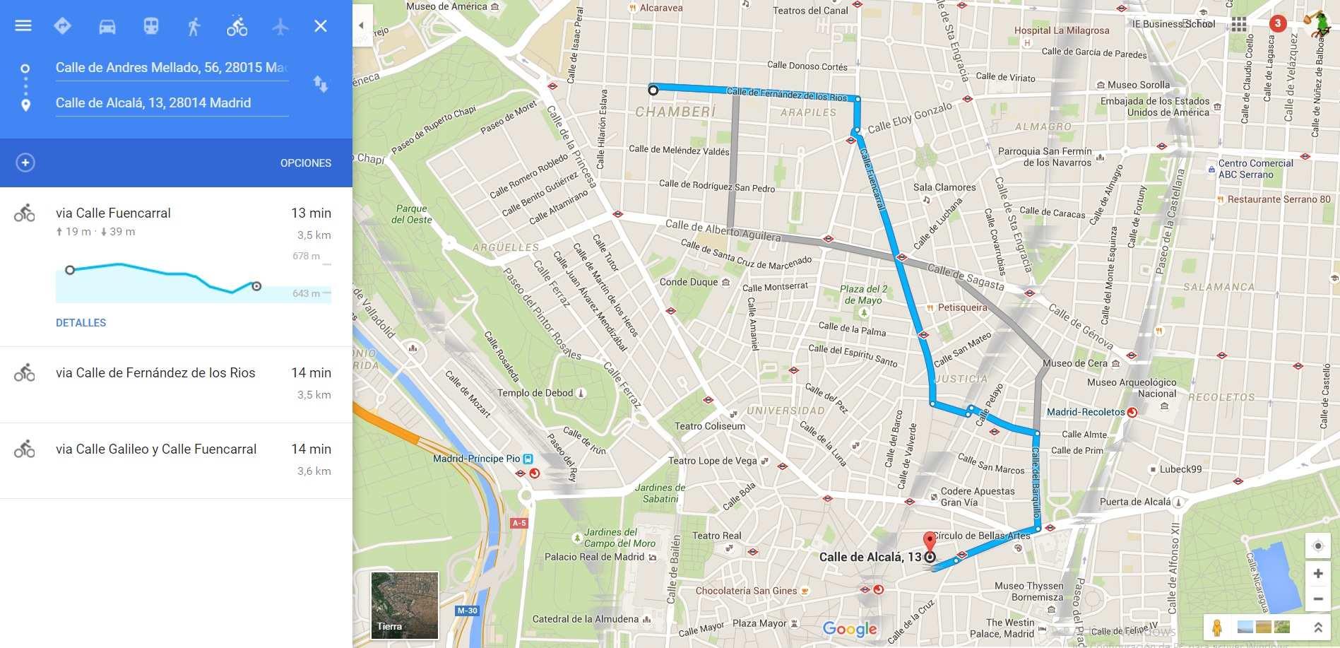 planificador trayectos bici Google