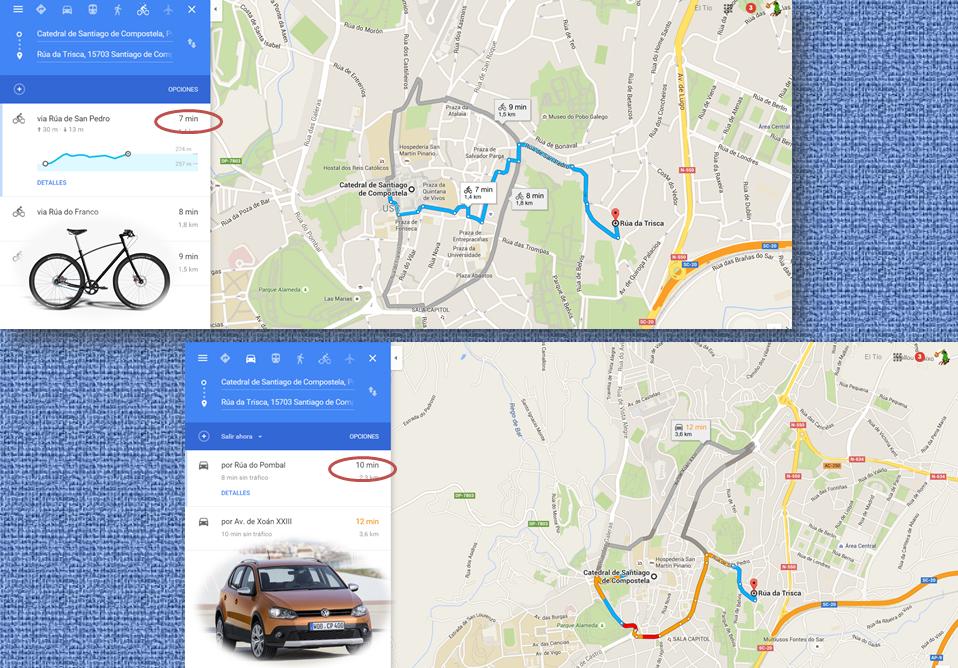 Google Maps bici Santiago de Compostela