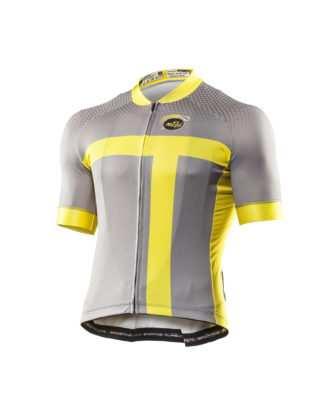 Maillot ciclismo amarillo y gris