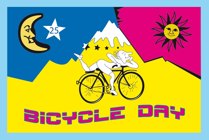 Imagen que conmemora el 'viaje en bicicleta de Hofmann'