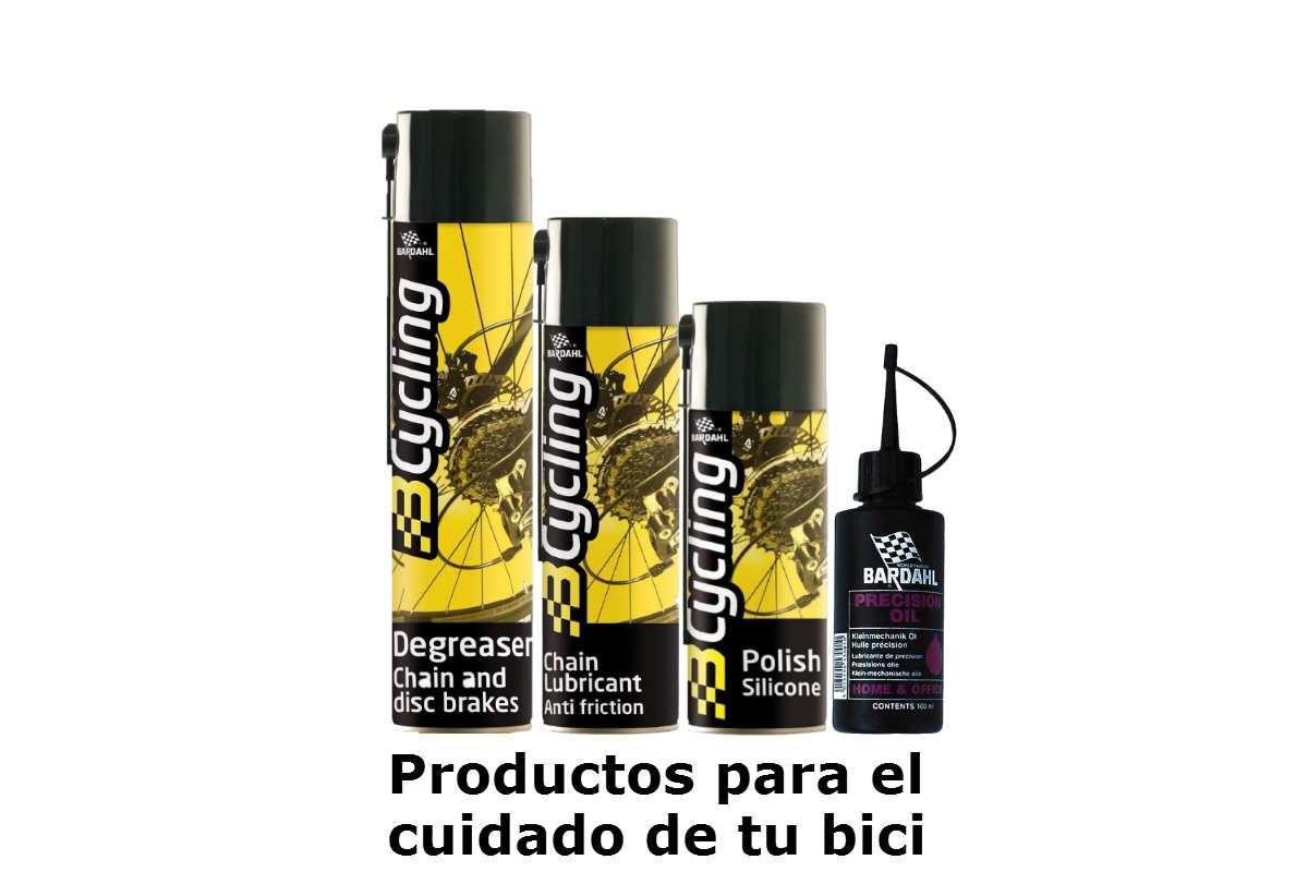 Kit completo de productos Bardahl para el ciudado y mantenimiento de la bicicleta
