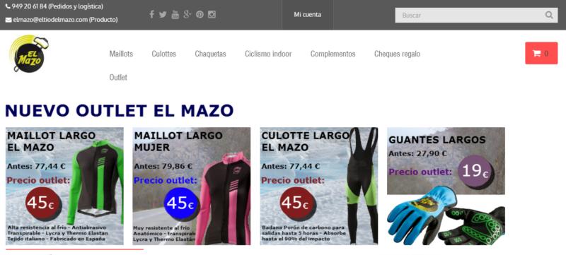 Outlet de ciclismo en la tienda de El Mazo