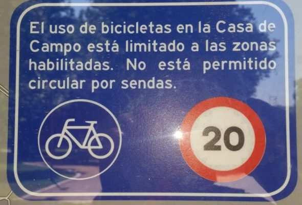 prohibido sendas ciclistas casa campo