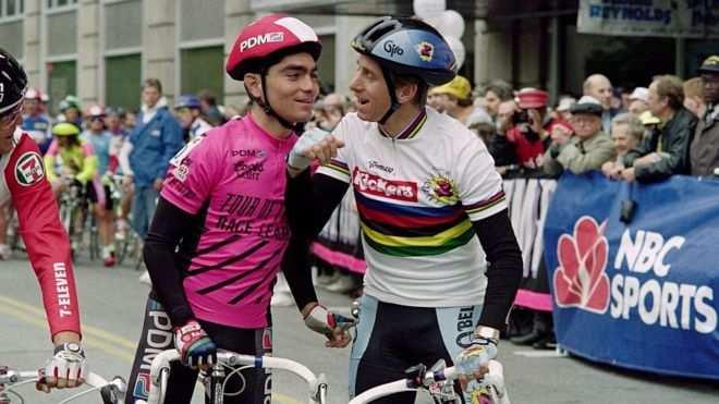 Raúl Alcalá y Greg Lemond en el Tour de Trump de 1990