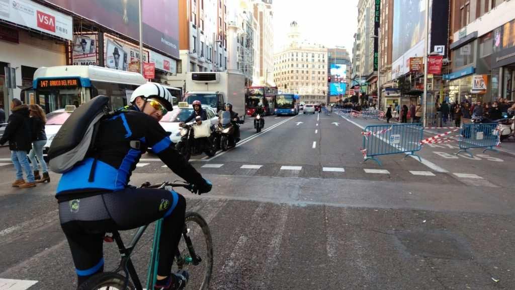 Gran Vía en bici Navidad