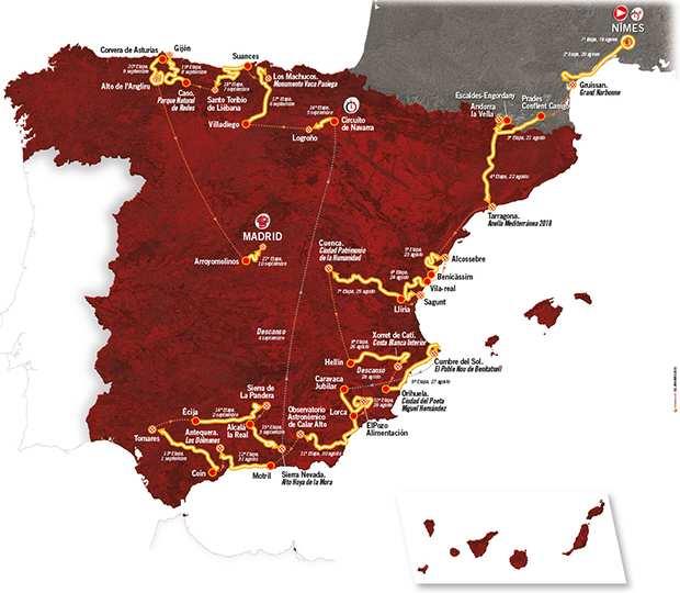 Mapa de la Vuelta a España 2017
