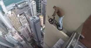 En bicicleta por la repisa de un rascacielos