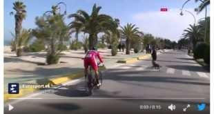 Peter Sagan se salva por los pelos de un accidente… ¡con una señora que paseaba su perro!