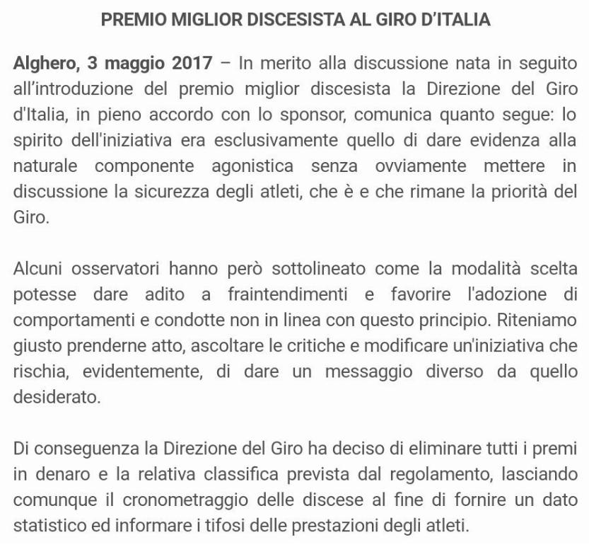 Giro elimina premio descenso
