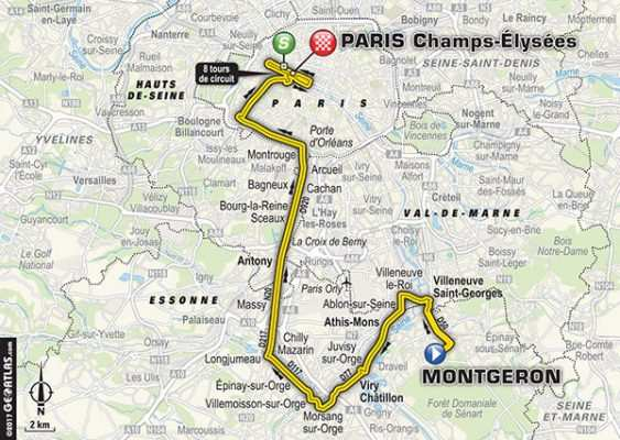 Mapa llegada del Tour 2017 a París