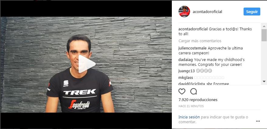 Anuncio de retirada de Alberto Contador