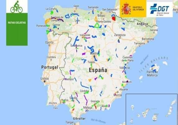 Mapa rutas ciclistas seguras protegidas de la DGT