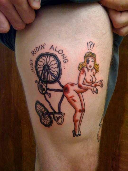 Bicicletas y ciclismo a flor de piel - El tio del Mazo Traditional Pin Up Tattoos Designs