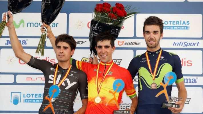 El podio de 2017: Castroviejo, Herrada y Landa