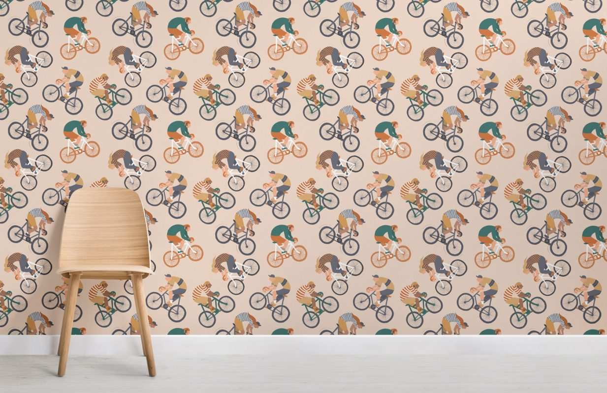 pared con bicis