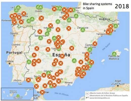 Mapa bicicleta pública en España