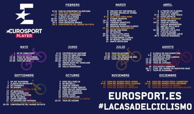 Calendario 2019 de las retransmisiones de ciclismo en Eurosport, facilitado por la propia cadena