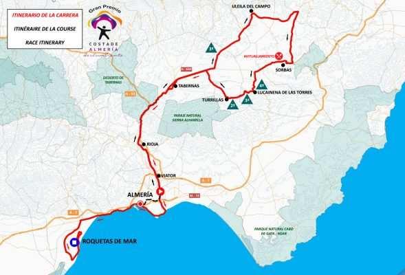 Mapa del recorrido de la Clásica de Almería 2019