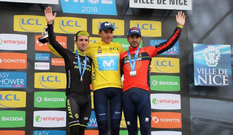 Podio de la París-Niza de 2018 con Soler, Yates e Izaguirre