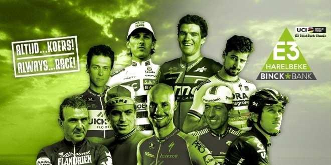 Bonito cartel promocional de la E3-harelbeke de 2019 con ganadores de la prueba de distintas épocas