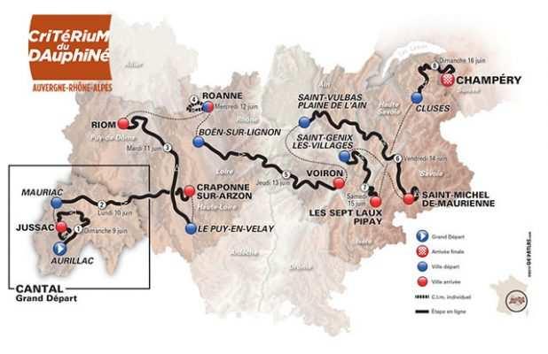 Mapa del recorrido de  la Dauphiné 2019