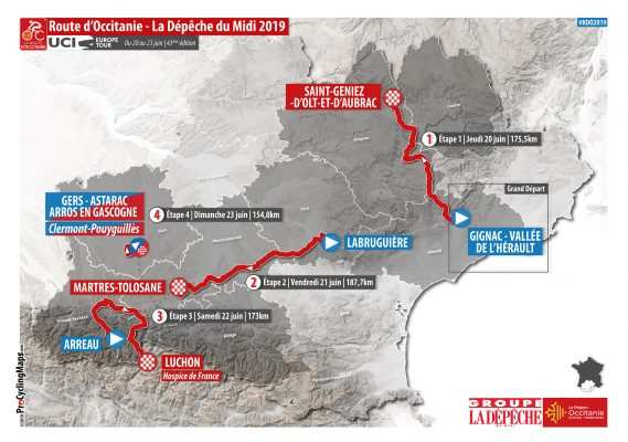 Mapa del recorrido de la ruta Occitania 2019