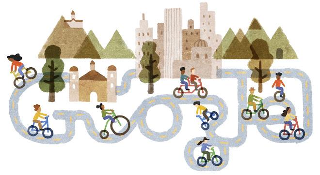 carril bici doodle