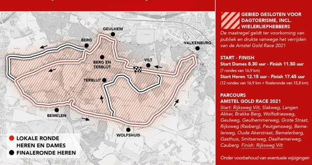Mapa del recorrido de la Amstel Gold Race 2021