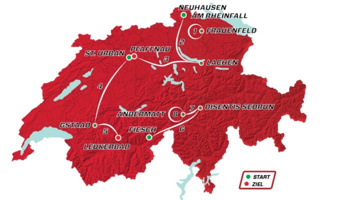 Mapa del recorrido del Tour de Suiza 2021